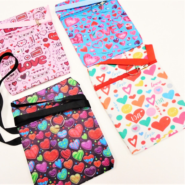 """5"""" X 7""""  Zipper Bag Love Heart Theme w/ Lg. Ribbon Strap  .58 each"""
