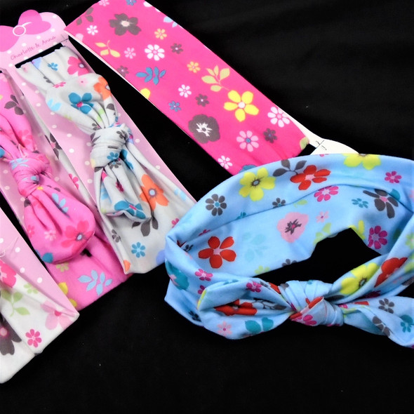 "Trending 2"" Wide Kid's Stretch Headbands Groovy Flower Print w/ 5"" Bow  .56 each"