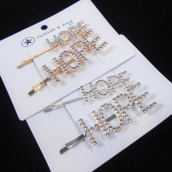 2 Pack Crystal Stone Gold/Sil HOPE Bobbie Pins  .60 per set