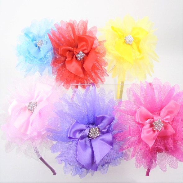"Trending Thin Fashion Headbands  w/ 4"" Layered Chiffon/Satan Bow  .56 each"