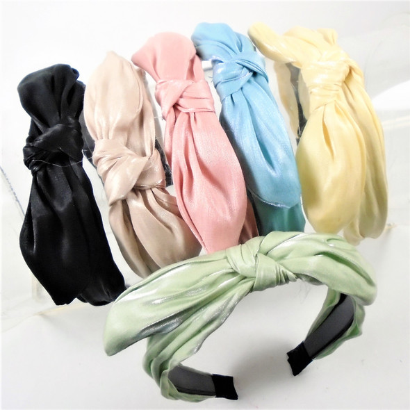 """TRENDING 1.5""""  E-Color Headbands w/ Knot & Wire Bow on Top    .58 ea"""