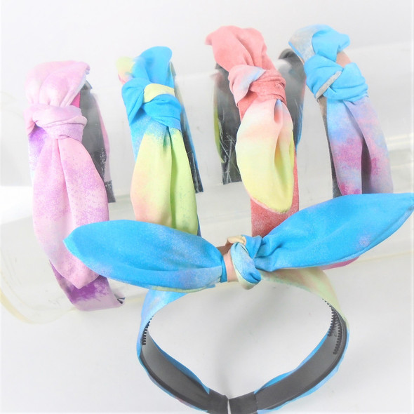 """TRENDING 1.5""""  Tye Dye Headbands w/ Knot & 6"""" Wire Bow on Top    .58 ea"""