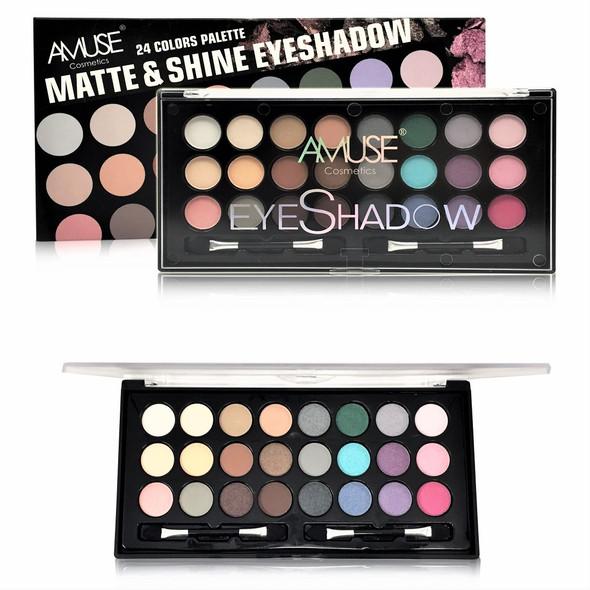 24 Color Palette Matt & Shine Eyeshadow   12 per display bx $ 2.75 ea set