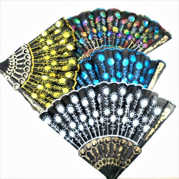 """9"""" Black Handle Sequin Sun Brust Hand Fans asst color .56 each"""