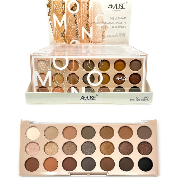 21 Color Monochromatic Eyeshadow Palette  12 sets per display $ 2.50 each set