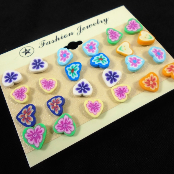 Value Pack 12 Pair Earrings Colorful Fimo Heart Flowers  .58 per set