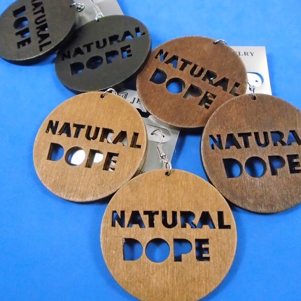 """2.5"""" Natural DOPE Theme Wood Earrings  .56 per pair"""