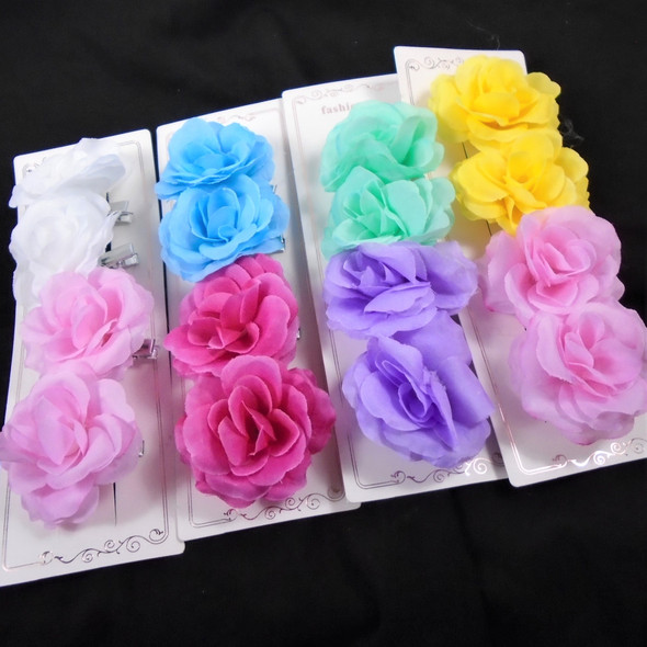 """4 Pack 2.5"""" Silk Flowers on Gator Clips  .60 per set of 4"""