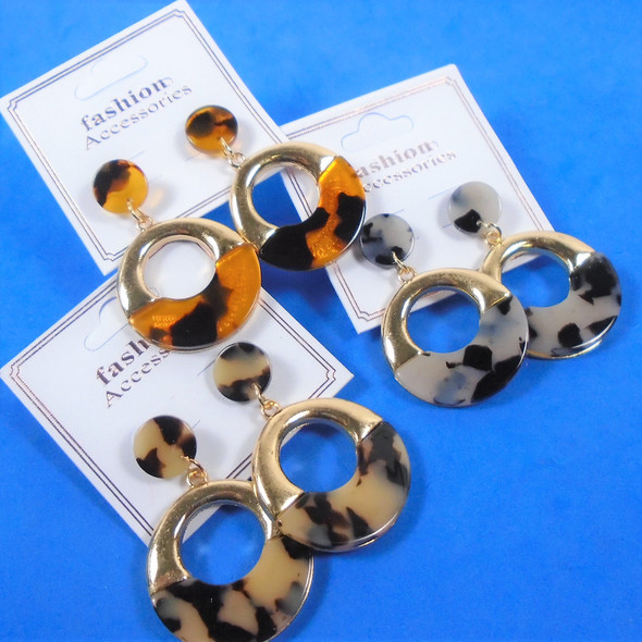 "2"" Hi Fashion Gold & Tortoise Shell Look Earrings  .56 per pair"
