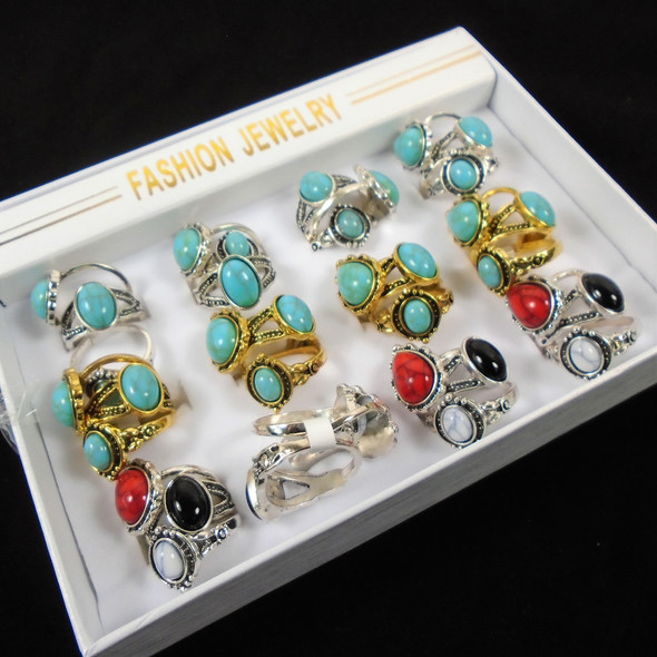 VALUE RINGS Gold & Silver Rings w/ Stone Top 36 per bx  .20 each