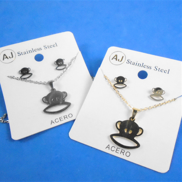 Stainless Steel Necklace & Earring Set Gold/Silver - Monkey Theme  .60 per set