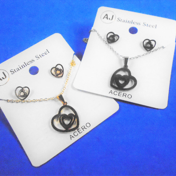 Stainless Steel Necklace & Earring Set Gold/Silver - Hearts in Wavy Heart  .60 per set