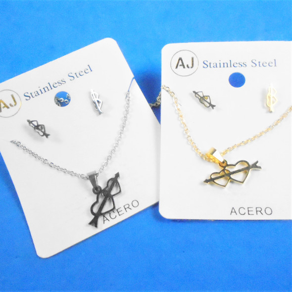 Stainless Steel Necklace & Earring Set Gold/Silver - Hearts w/ Arrow .60 per set