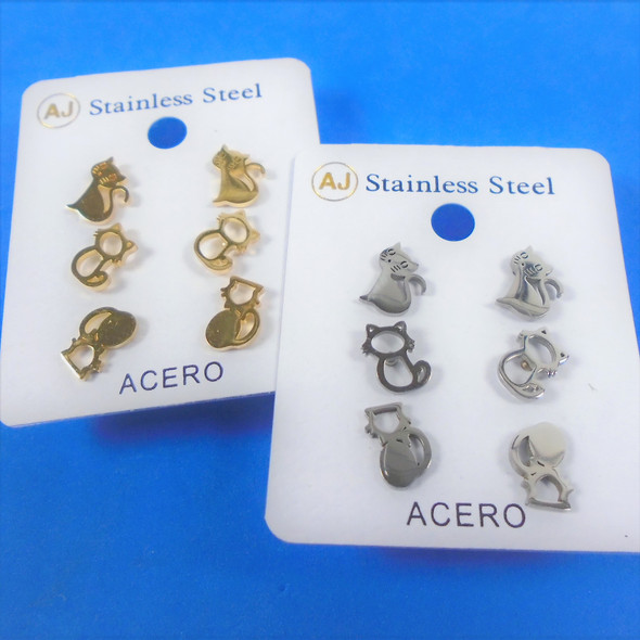 3 Pair Gold & Silver Stainless Steel Earrings - Cat Theme  .56 per set
