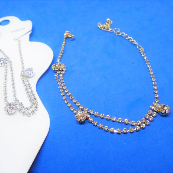 Gold & Silver 2 Strand Rhinestone Anklets w/ 3 Lg. Clear Stones  .56 ea