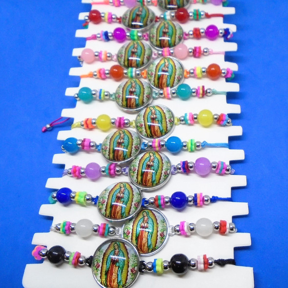 Colored Bead Cord Bracelets w/ Round Guadalupe Charm 12 per card .54 each