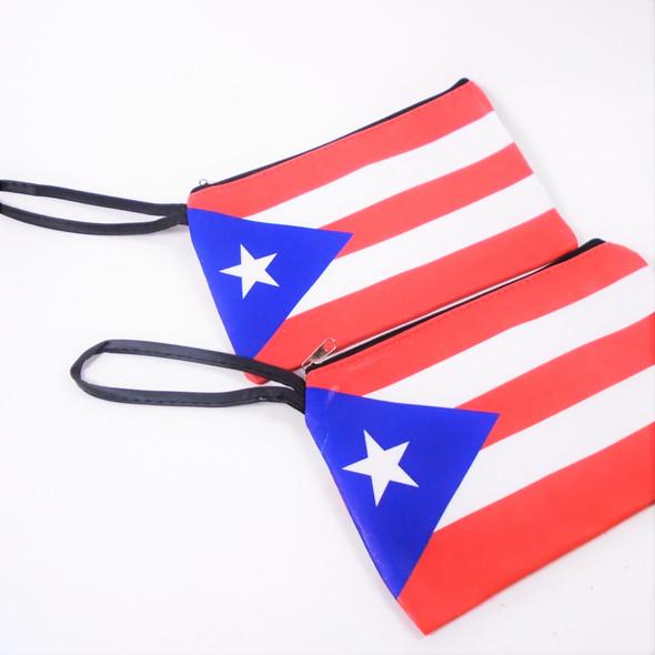 "5"" X 7"" Puerto Rico Flag Theme Zipper Bag w/ Wrislet .58 ea"
