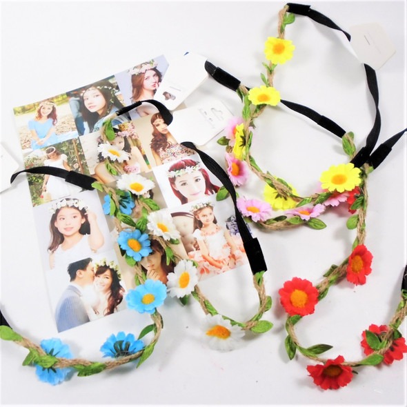 Trendy Jute & Colorful Flower Elastic Back Headbands   .54 ea