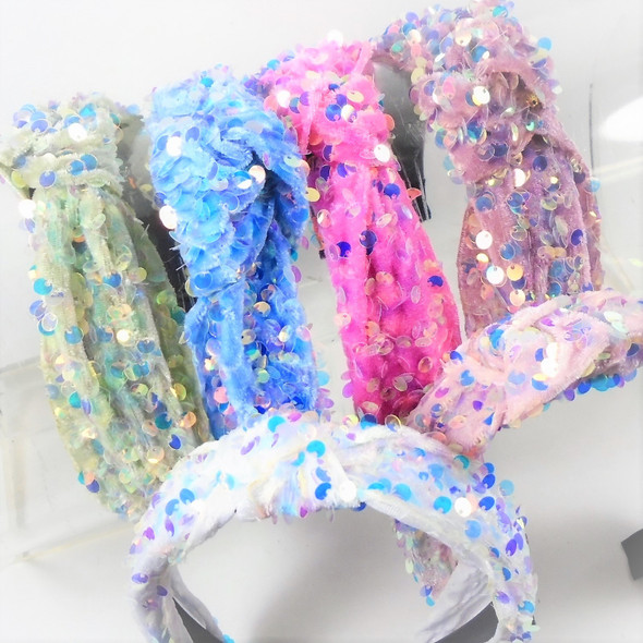 "TRENDING 1.5""  Sequin Headbands w/ Knot Mixed Lite Colors     .58 ea"