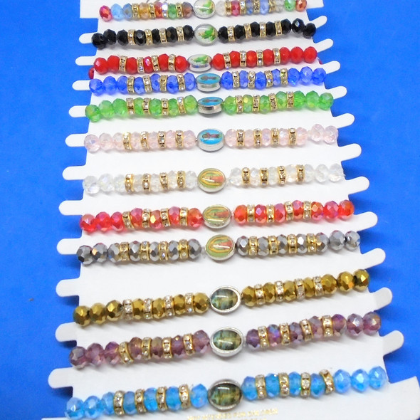 Crystal Beaded Stretch Bracelet w/ Mixed Style Saint Pictures 12 per card   .56 each