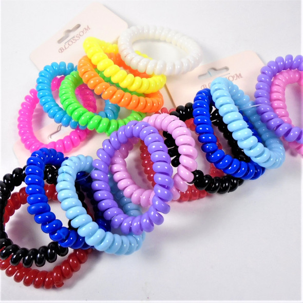 Trendy 6 Pack Phone Coil Ponytailers/Bracelets - Mixed Brights/Pastels .58 per set
