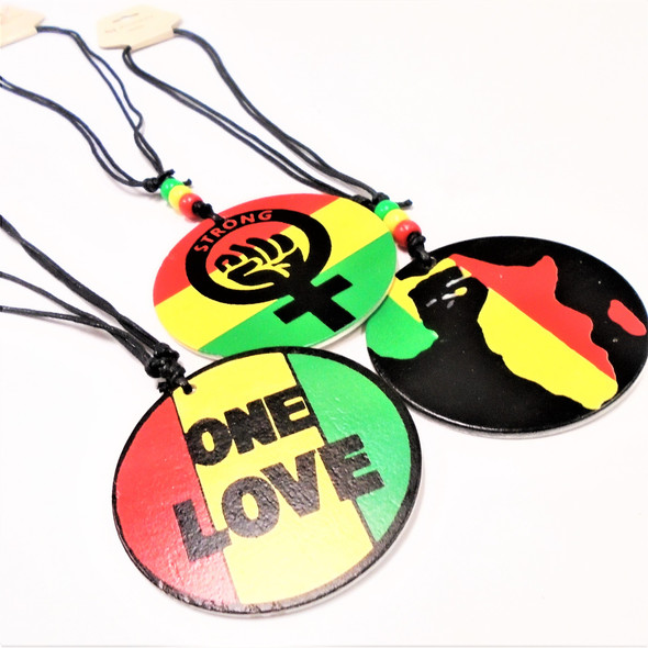 DBL Leather Cord Necklace w/ 3 Style Rasta Wood Pendants .56 each