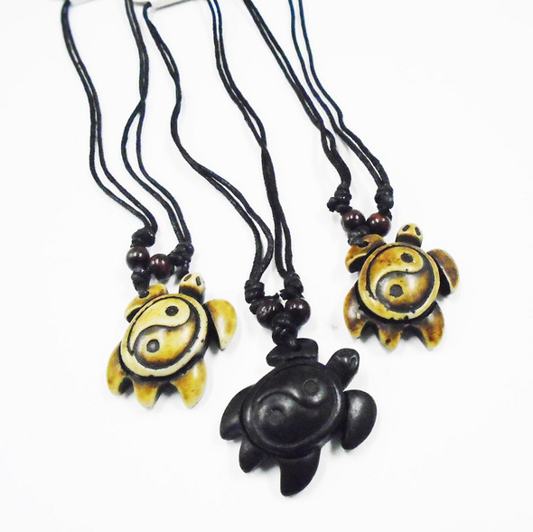 Teen DBL Cord Necklace w/ Ying Yang Turtle Pendant .56 ea