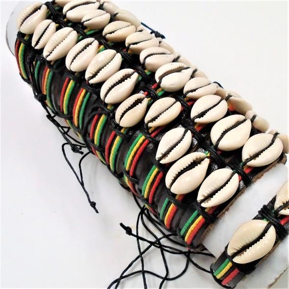 Teen Leather Bracelet w/  Rasta Color Cord & Cowrie Shells  .56 each