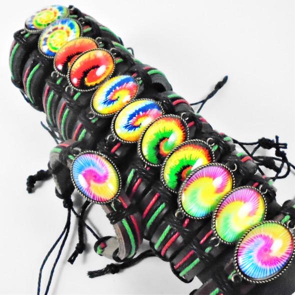 Teen Leather Bracelet w/ Oval Spin Art Look Charm  .56 ea