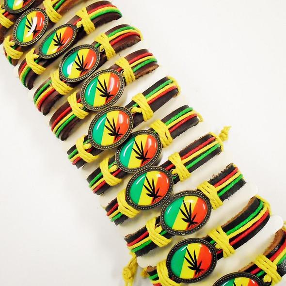 Rasta Color Leather Bracelets w/ Leaf  .56 each