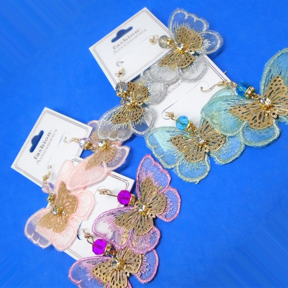"2"" Lace & Gold Butterfly Fashion Earrings w/ Stone  .56 per pair"