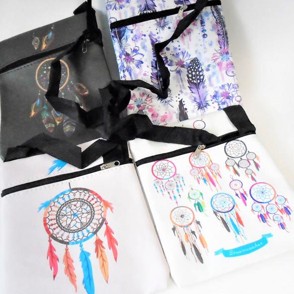 "6"" X 7"" Dream Catcher Theme Print Zipper Side Bag w/ Lg. Strap  .62 ea"