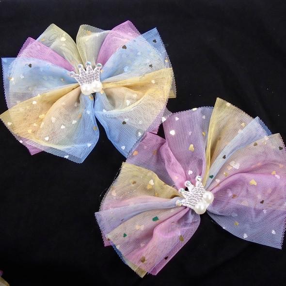 "6"" Multi Color Lace Gator Clip Bow w/ Crystal Stone Crown  .58 ea"