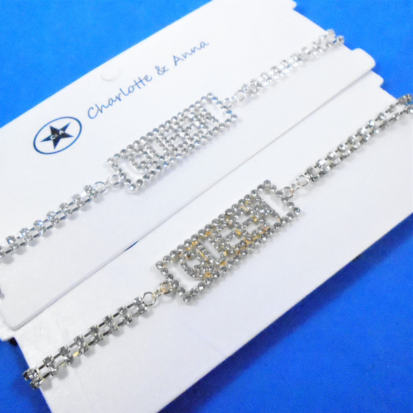 Rhinestone Choker Necklace w/ Crystal Stone QUEEN Plaque  .60 each
