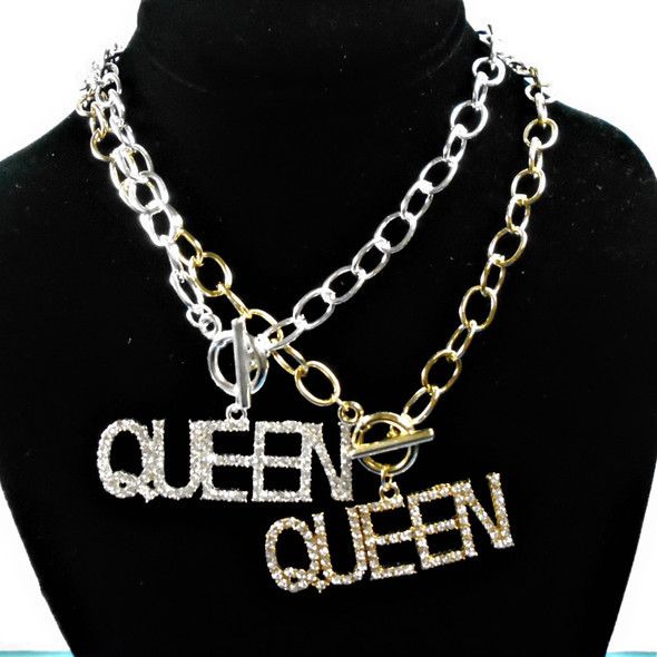 "18"" Gold & Silver Chain Necklace w/ 2.25"" Crystal Stone Queen Pendant .60 each"