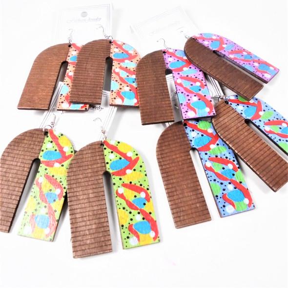 """3""""  Wood Earrings 2 Tone Colorful Design    .54 per pair"""