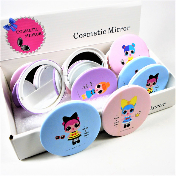 Colorful Girly  Theme Round DBL Compact Mirror in Display (204)- .60  each