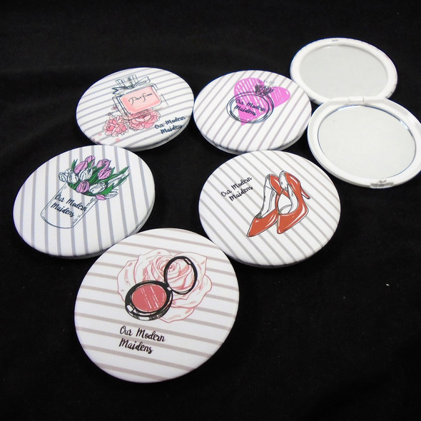 Glamour Theme Round DBL Compact Mirror in Display (210) .60  ea