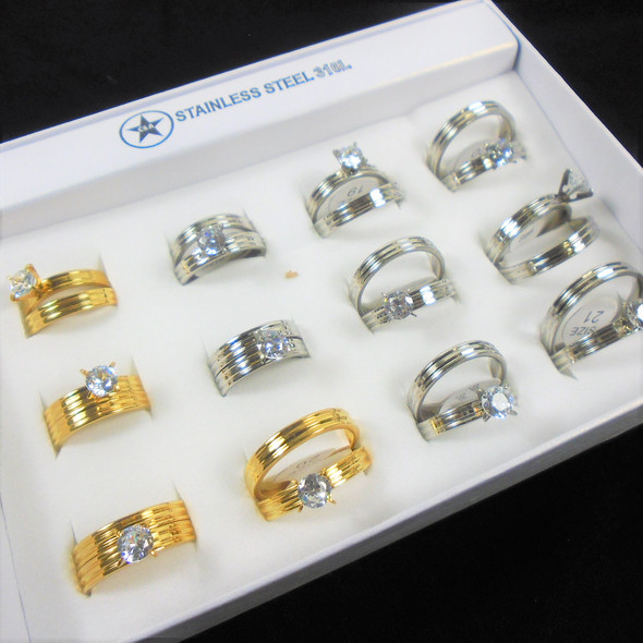 2 pc Stainless Steel Wedding Band Sets w/ Crystal Stone  .60 per set