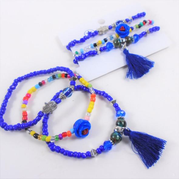 3-Pack Bracelet Set Beaded w/ Hamsa Charm  & Blue Tassel   .60 per set