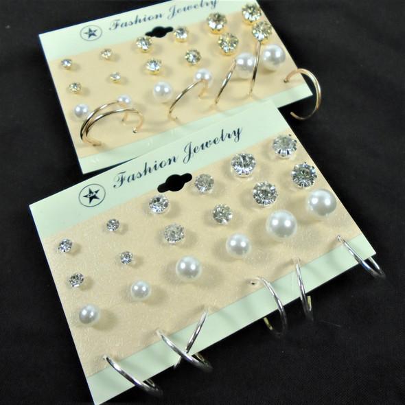 Value Pack 12 Pair Earrings Pearl,Crystal  Studs & Gold/Silv Mini Hoops .56 per set