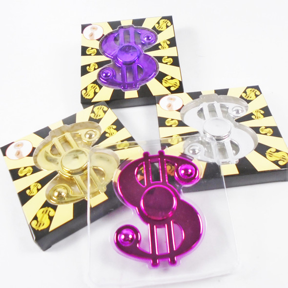 """Best Quality 3"" Fidget Spinners Metallic $ Dollar Sign  24 per display bx .50 each"