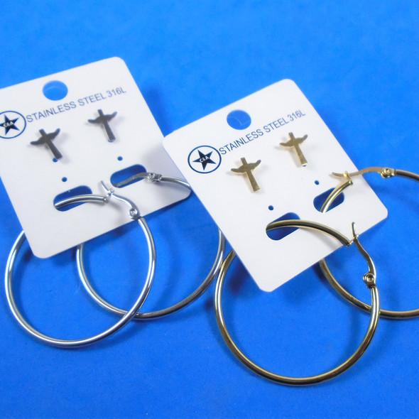 Stainless Steel Gold & Silver Earring Set w/ Hoop & Angel Wing Cross  .58 per set
