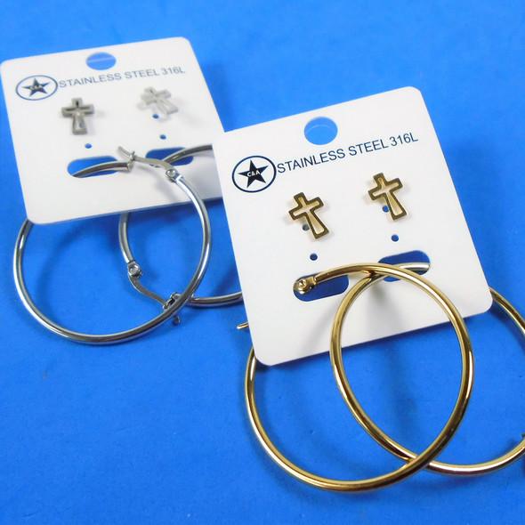 Stainless Steel Gold & Silver Earring Set w/ Hoop & Mini Open Cross  .58 per set