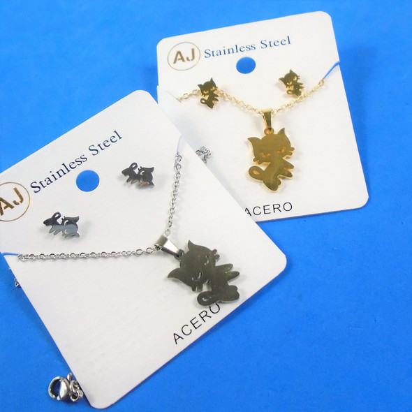 Stainless Steel Necklace & Earring Set Gold/Silver - Cat Lovers Theme  .60 per set