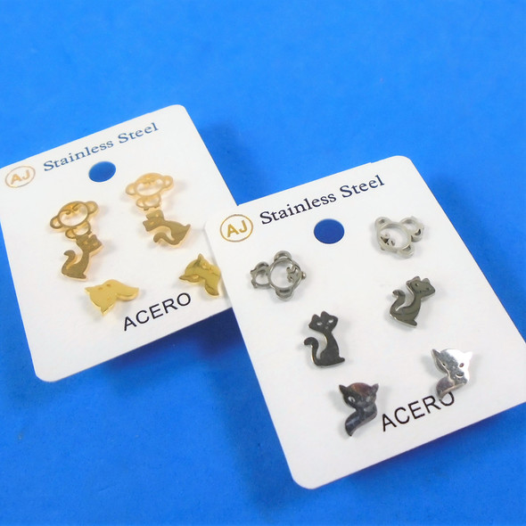 3 -Pair Gold & Silver Stainless Steel Earrings Monkey,Cat,Fox   .58 per set