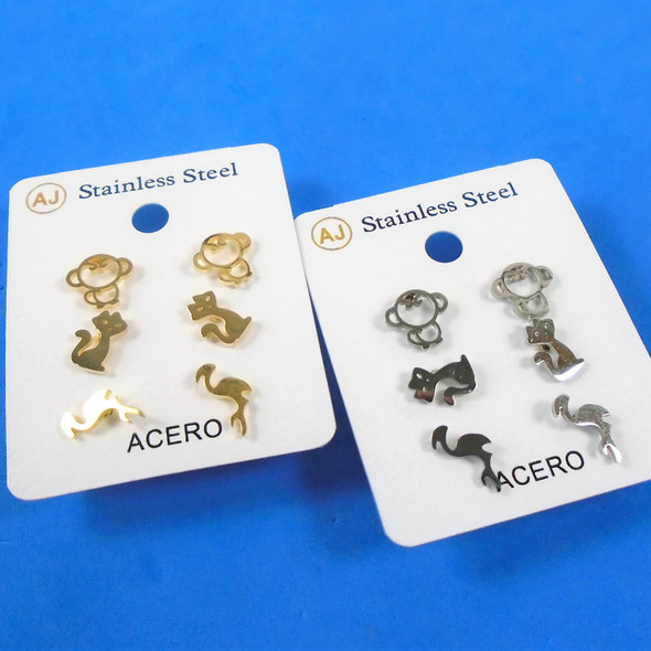 3 -Pair Gold & Silver Stainless Steel Earrings Monkey,Cat,Flamingo .58 per set