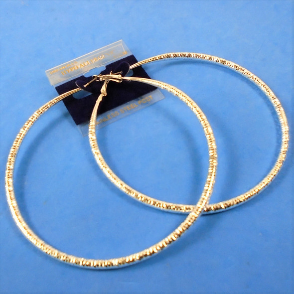 "4"" Hypoallergenic Stainless Post Silver Textured Silver Hoop Earrings   .58 per pair"
