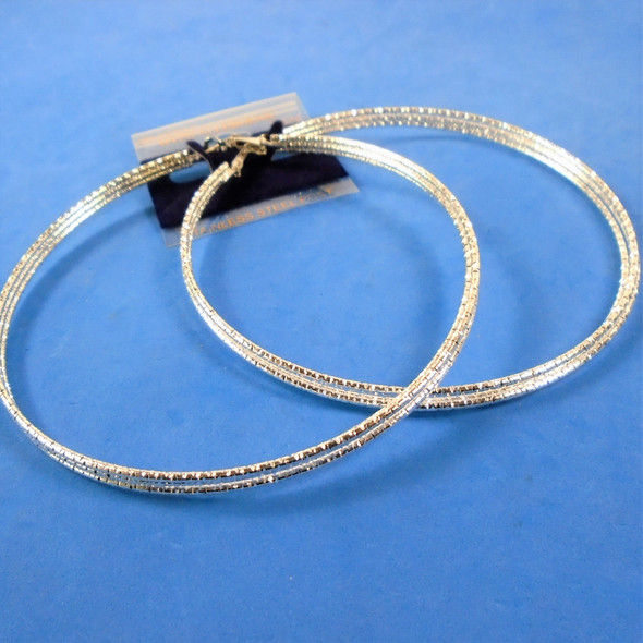 "4"" DBL Line Hypoallergenic Stainless Post Silver Textured Silver Hoop Earrings   .58 per pair"