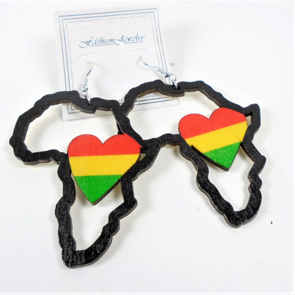 "3"" Africa Map Wood Earrings w/ Rasta Color  Heart  .54 per pair"